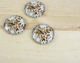 6 Clock Glass Cabochons Round White Wood Lace 20mm