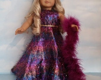 18 inch doll clothes - #242 Purple Eyelash Gown and Boa - FREE SHIPPING