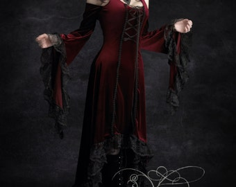 Elisa Romantic Gothic Velvet Dress Hand Made by Rose Mortem - XS/S/M/L/XL/2X - Dark Romantic Couture and Fairy Tale Dresses