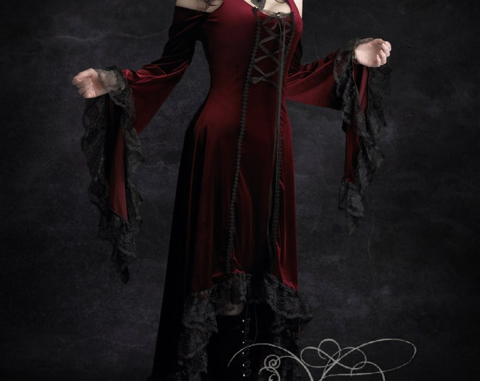 Elisa Romantic Gothic Velvet Dress Hand Made Bespoke - Dark Romantic Couture and Fairy Tale Dresses