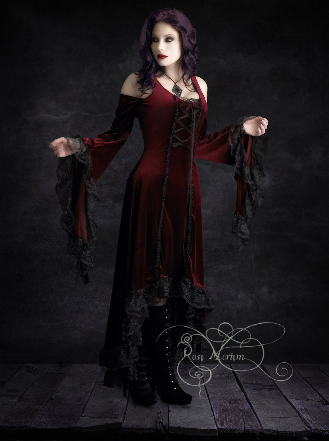 Elisa Romantic Gothic Velvet Dress Hand Made by Rose by