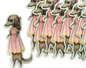 Doxie Girl - dachshund  - vinyl silkscreen sticker - by Mab Graves -