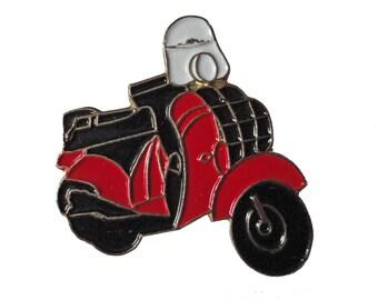 VESPA SCOOTER vintage motorcycle metal enamel pin biker red