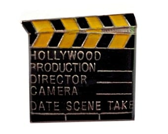 DIRECTOR'S CUT vintage enamel pin movie clapperboard clapper clap board slate