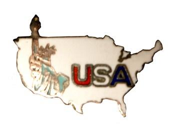 Statue Of Liberty USA vintage enamel pin lapel badge flag veteran United States Of America