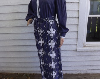 1970s Hippie Dress Blue Retro Country Maxi Long Sleeve Floral 70s M