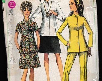 Simplicity 8102 Miss-Petites' Stand-Up Collar Jacket,Skirt and Pants