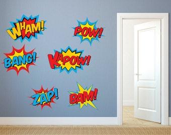 Superhero Wall Decals - Superhero decal set - Superhero fabric decals, Pow Decal, Bam Decal, Heroes, Kids Wall Decals