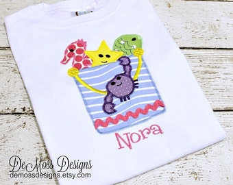 Sandpail Personalized Shirt, Ocean Creatures, Appliqued, Short or Long Sleeve Shirt, Totally Custom, Name Embroidered