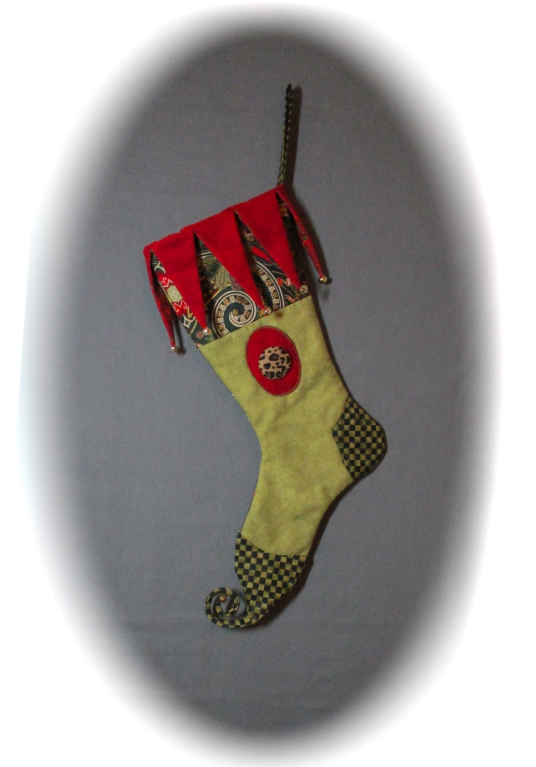 Toenail Christmas Design: Elf Toe Christmas Stocking Red And Moss Green Harlequin Jester