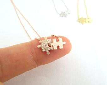 Puzzle Necklace Best Friend Necklace Love Necklace Dainty Necklace Everyday Simple Necklace Birthday Gift Bridesmaids Necklace