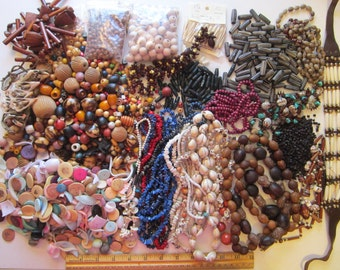 huge BOHO bead mix - bead destash - wood, shell, stone chip, seed, nut, and more - large assortment, some as is necklaces