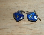 D10 Blue and Gold Dice Earrings