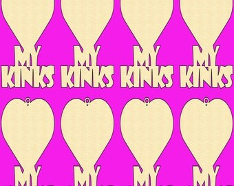 12 PCS Love my KINKS Unfinished Wood Shapes