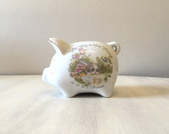 Vintage piggy bank, ceramic piggy bank, vintage money bank, vintage pig figurine, vintage money box, ceramic money box, friendship gift