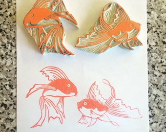 Goldfish Stamp Set - two fish, rubber stamp, hand carved