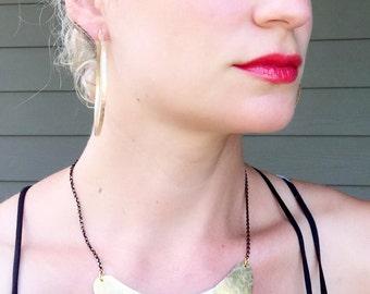Boho Chic Gypsy Statement Hammered Golden Crescent Brass Bib Necklace | Tribal | Rocker | Gold Necklace | Edgy Necklace | Crescent Necklace