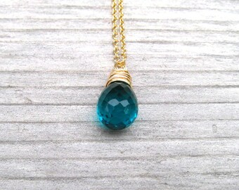Gold Paraiba Necklace, Wire Wrapped Teal Blue Pendant, Paraiba Quartz Tear Drop, 14 K Gold Filled, Paraiba Jewelry