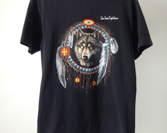 vintage men's WOLF MOUNTAIN 90s black DREAMCATCHER shirt