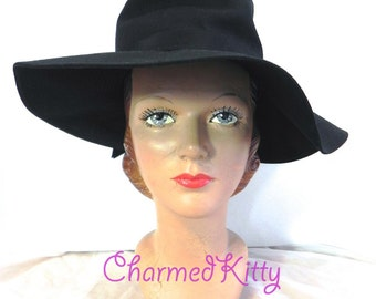 Vintage 50s Hat , Black Linen Wide Brim Hat