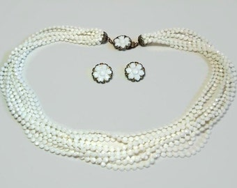 Wedding 10 Strand White Beaded Necklace & Flower Clip Earrings with Decorative Clasp Closure - Vintage 50's Demi Parure Costume Jewelry Sets