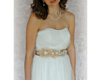 Champagne Beaded Bridal Sash, Crystals and Pearls and Flowers, Rhinestones - JARDIN D'OR