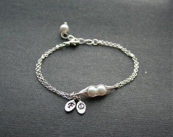 Pea Pod Bracelet, Two Peas in a Pod Bracelet, Peapod Jewelry, Sterling Silver, Friendship, Mother Gift, Bridesmaids, Initial Bracelet