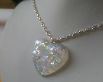 Heart of sparkle pendant, necklace, shimmering flakes, resin heart, big heart pendant, heart of ice, wintery heart