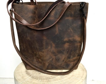 Dark Brown Leather Tote Bag - large brown leather bag - Leather Travel Bag - dark brown Leather Market bag - crossbody bag- Sale