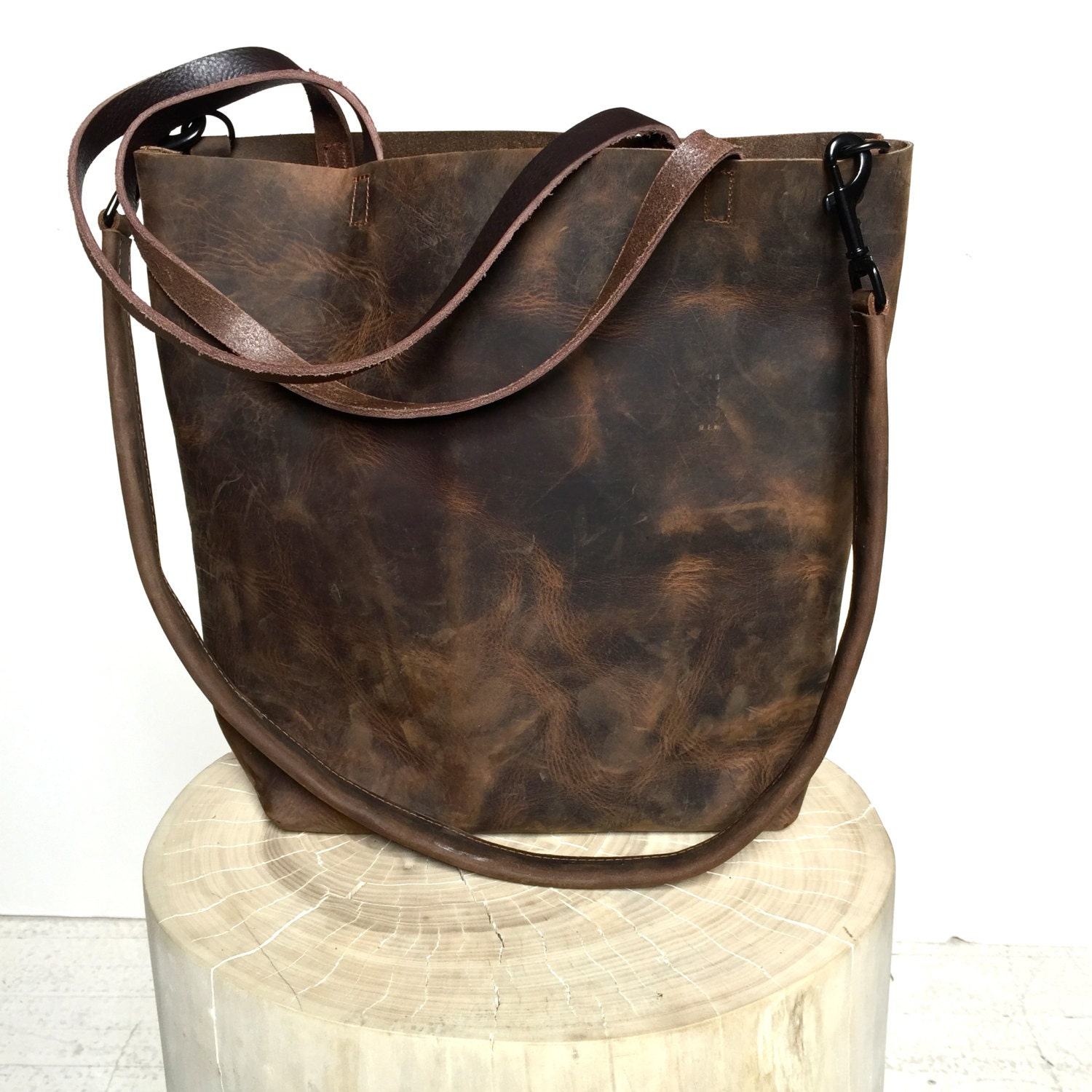 Dark Brown Leather Tote Bag large brown leather bag