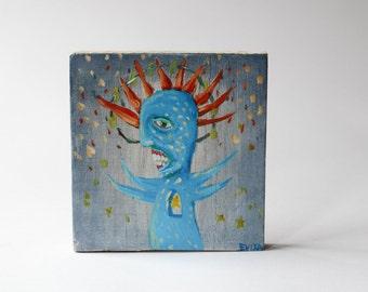 painting on wood / blue monster/ weird art/
