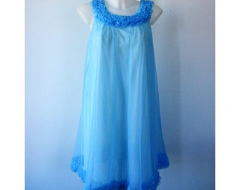Vintage Blue Chiffon Nightgown, Chiffon Nightgown, St Michael, 1960s Chiffon Nightgown, Blue Chiffon Nightgown, Nightgown