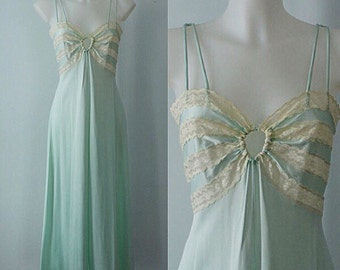 Vintage Nightgown, 1970s Nightgown, French Maid, Mint Green Nightgown, Vintage Nightgown, Green Nightgown, 1970s Lingerie