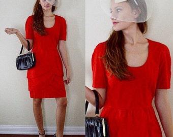 Vintage Red Dress, Vintage Red Cotton Dress, Guy Laroche Boutique Paris, Guy Laroche, Cotton Dress, Casual Dress