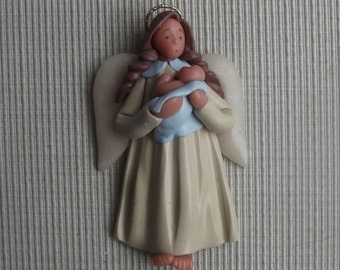 Simple elegance boy ~ hand sculpted polymer clay angel with baby boy