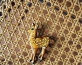 60s Wooden Deer Pin Large Wooden Deer Pin Deer Brooch