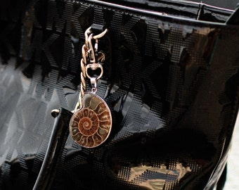 Boho Purse Charm - Boho Stocking Stuffer Women - College Gift For Women -College Student Gift For Her- Stone Keyring -Ammonite Shell Fossil