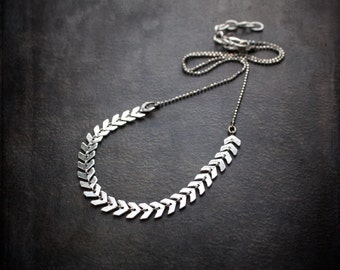 Silver Chevron Chain Necklace with Delicate Faceted Ball Chain