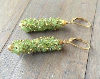 Natural Green Peridot Earrings.  Gold fill. August birthstone. Leo
