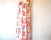 ON SALE Vintage 60s / Hot Pink and Orange / Floral / Empire Waist / Maxi / Nightgown / MEDIUM