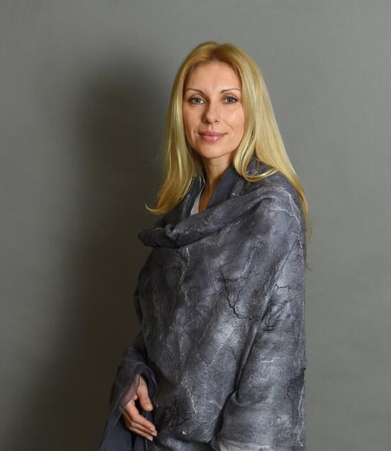 Nuno felted scarf - felted shawl - wool silk scarf - women scarf - felted wool shawl - nuno felted shawl - grey wool scarf