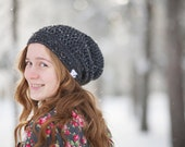 Slouchy Hat in Charcoal Tweed, Girl's hats, Boy's Hats, Hipster Clothing, Crochet Slouch Hat, Slouchy Beanie, 5T to Preteen (Morgan)