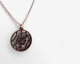 Wood Spider Web Necklace in Antique Copper - Halloween Jewelry, October Jewelry, One of a Kind