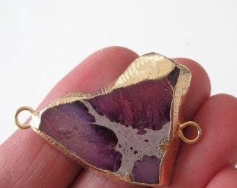 Purple Jasper Connector - 2 Loop Impression Jasper Link - Natural Gemstone Pendant - Gold Edge - Double Bail - Focal Pendant  DIY Jewelry