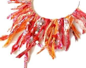 Fiery Red Statement Necklace, Fabric Necklace, Statement Necklaces, Fiber Art, Upcycled Jewelry, Red Orange