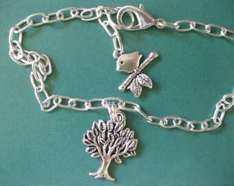 Tree Of Life & Baby Bird Ankle Bracelet