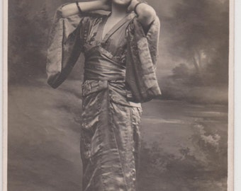 LOVELY ART DECO Era Young Lady In Japanese Kimono Costume with Hand Fan & Sandals Original Private Issue Rare Postcard Collectible...1922