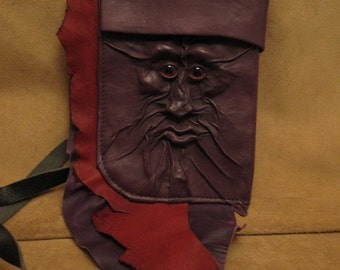 """Grichels leather small large bag - """"Voparks"""" 26405 - plum purple and red with red carousel horse eyes"""