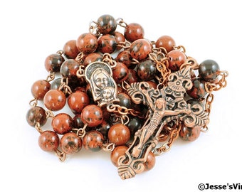 Catholic Rosary Brown Black Mahogany Obsidian Antique Copper Traditional Rustic Natural Stone Rosary Beads