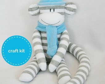 Craft Kit, Sock Monkey Kit - Grey and White Stripes  with Light Blue Hat